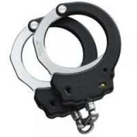 Tactical Handcuffs with Chain Link - Black / Aluminium (Oversize)